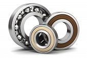 picture of friction  - Group of bearings isolated on white background 3D - JPG