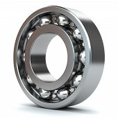 pic of friction  - Chrome bearings isolated on white background 3D - JPG