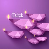 stock photo of kolam  - Vector Polygonal Diwali Diya  - JPG