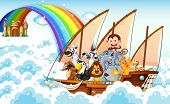 picture of ant-eater  - Illustration of many animals on a boat - JPG