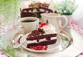 pic of black-cherry  - Piece of fresh homemade Black Forest cake with cherry and chocolate - JPG