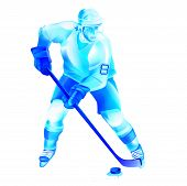 foto of bandy stick  - Colorful hockey man player attack - JPG