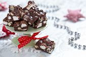 pic of chocolate fudge  - Rocky road fudge with marshmallow and nuts - JPG