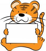 picture of cute tiger  - vector cartoon cute tiger holding blank paper - JPG
