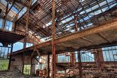 stock photo of ore lead  - Old abandoned mining factory unit processing lead - JPG