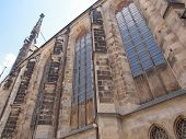 image of leipzig  - Thomaskirche St Thomas Church in Leipzig Germany where Johann Sebastian Bach worked as a Kapellmeister and the current location of his remains - JPG