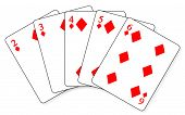 stock photo of flush  - A straight flush in a hand of cards - JPG
