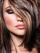 pic of brown-haired  - Closeup portrait of stylish gorgeous super model - JPG