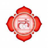 picture of kundalini  - Illustration of a red base chakra mandala - JPG