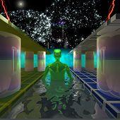 foto of swim meet  - Green Man is on track to meet the mysterious aquatic glow - JPG