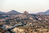 stock photo of goreme  - The sunrise over Goreme National Park - JPG