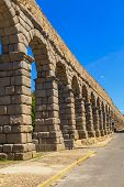 foto of aqueduct  - The famous ancient aqueduct in Segovia Spain - JPG