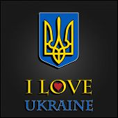 picture of armorial-bearings  - I love Ukraine Stylish vector illustration for t - JPG