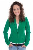 image of blazer  - Isolated smiling young business woman in green blazer with jeans - JPG