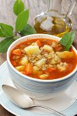 foto of vegetable soup  - Vegetable soup with lentil potato carrot and onion - JPG