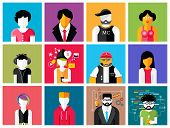 pic of rapper  - Set of stylish avatar of male and woman icons in flat design - JPG