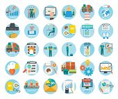 stock photo of internet icon  - Analyze of internet shopping process of purchasing and delivery - JPG