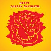 image of ganesh  - happy ganesh chaturthi sketch greeting card design background vector - JPG