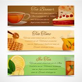 foto of black tea  - Black green and iced tea time horizontal banners set isolated vector illustration - JPG