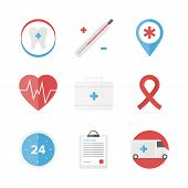 stock photo of life-support  - Flat icons set of first aid kit and medical support service clinical records healthcare objects and dental care symbol - JPG