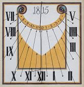 foto of sundial  - Restored old sundial with mural painting from 1815 at the church in Glatt - JPG