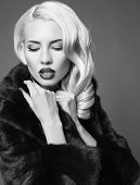 pic of coat  - black and white fashion portrait of sexy glamour woman with blond hair in luxurious black fur coat posing in studio - JPG