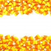 foto of corn  - Halloween candy corn double border over white - JPG