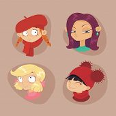 picture of teen pony tail  - cute illustrations of beautiful young girls with various hair style - JPG