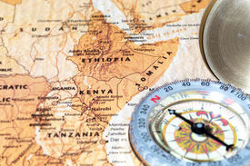 image of ethiopia  - Compass on a map pointing at Kenya Ethiopia and Somalia planning a travel destination