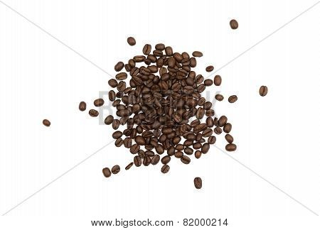 Pile Of Loose Coffee Beans Isolated
