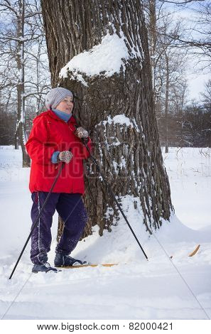 Woman Retirement Age, Walking In Winter Forest