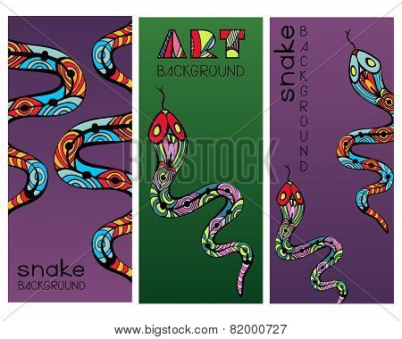 Set Of Cards With Abstract Ornate Snakes