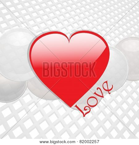 Love Heart On White Thecno Background
