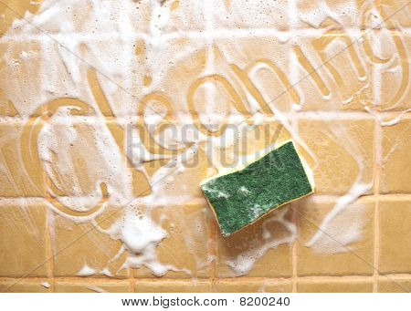 """Inscription """"cleaning"""" On Soap Wall"""