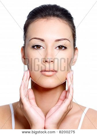 Front View Of Woman's Face With Healthy Clean Face
