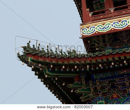 Detail Of Roof Figures On The Main Gate Into Ancient Beijing