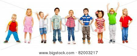 Combination of little kids standing isolated