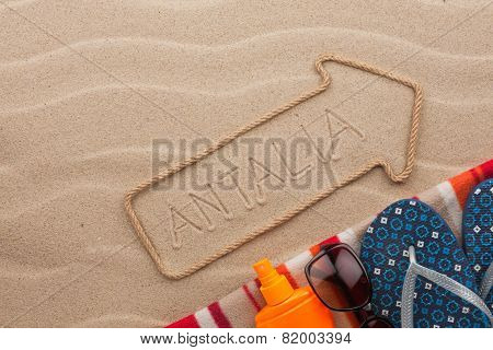 Antalya  Pointer And Beach Accessories Lying On The Sand
