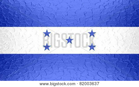 Honduras flag on metallic metal texture