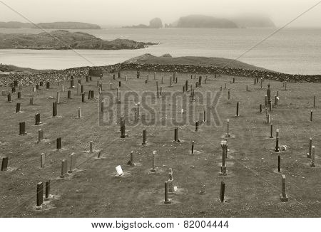 Scottish Landscape With Graveyard And Coastline. Scotland. Uk