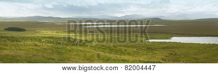 Scottish Panoramic Landscape With Loch And Moorland. Lewis Isle