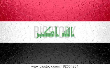 Iraq flag on metallic metal texture