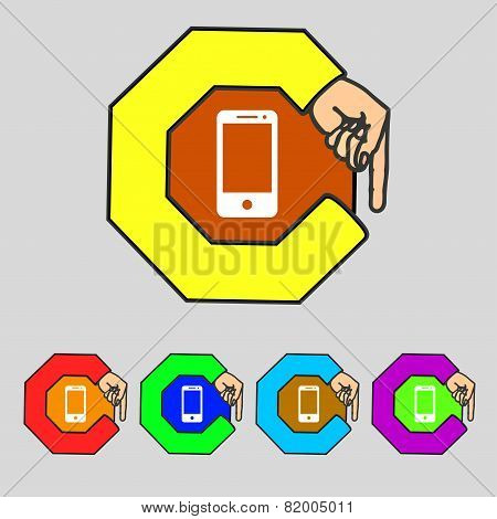 Smartphone Sign Icon. Support Symbol. Call Center. Set Colur Buttons Vector