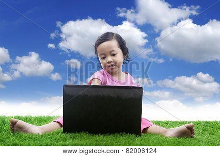 E-learning for girl under blue sky