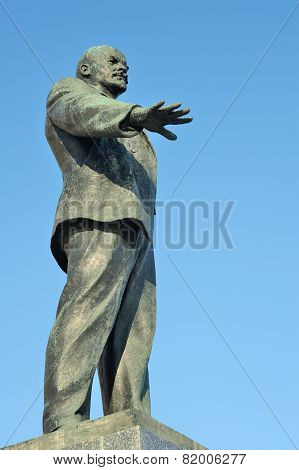 Lenin Monument In The Sky, Orel, Russia