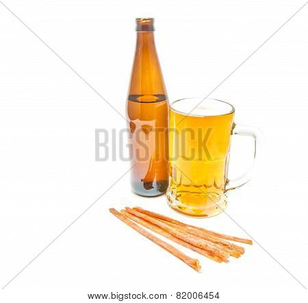 Light Beer, Bottle And Fish Snack On White