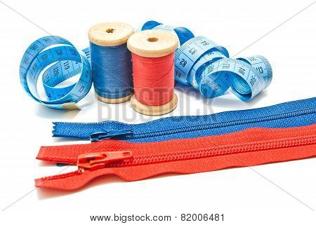 Two Zipper, Meter And Two Spools Of Thread