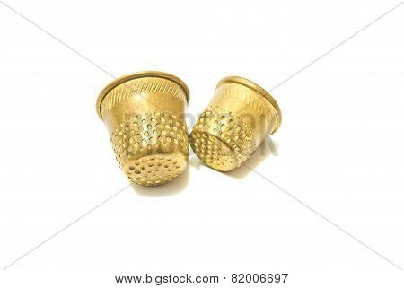Two Metal Golden Thimbles