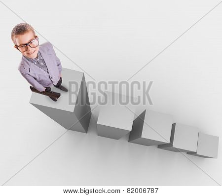 business concept. boy on stage 3D graph