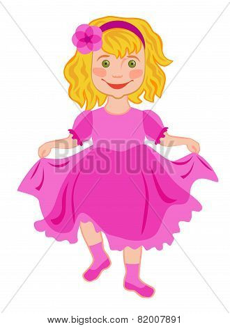 Little Girl Laughs And Dances